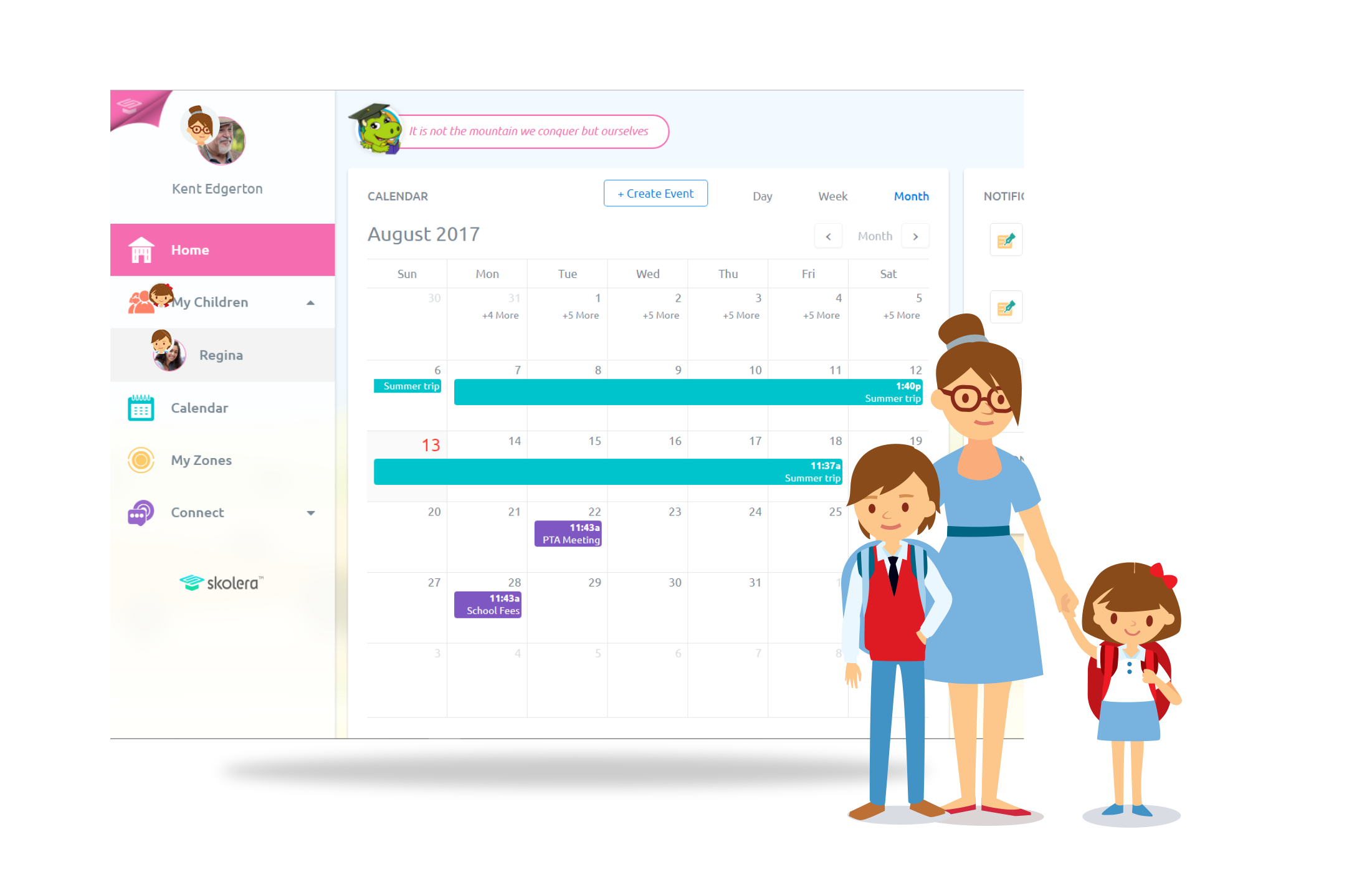 Calendar for parents in Skolera LMS